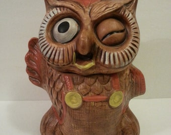 Vintage Winking Owl Cookie Jar - has paint chips and faded paint