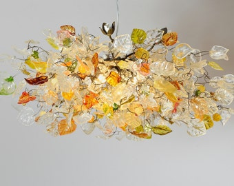 Hanging chandeliers with Champagne color flowers and leaves for dinning room, bedroom or living room.