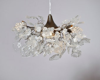 Chandelier Lighting with Transparent clear color flowers and leaves lamp for bedroom, living room or bathroom.