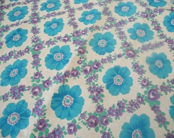 Vintage Fabric Blue Retro Floral