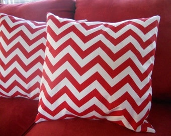 Big Sale !!! Zig Zag Red And White Two Pillow Covers 18x18