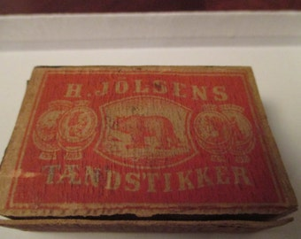 Vintage Wooden Match Box Norway 1930s Small Match Box Enebak Norway