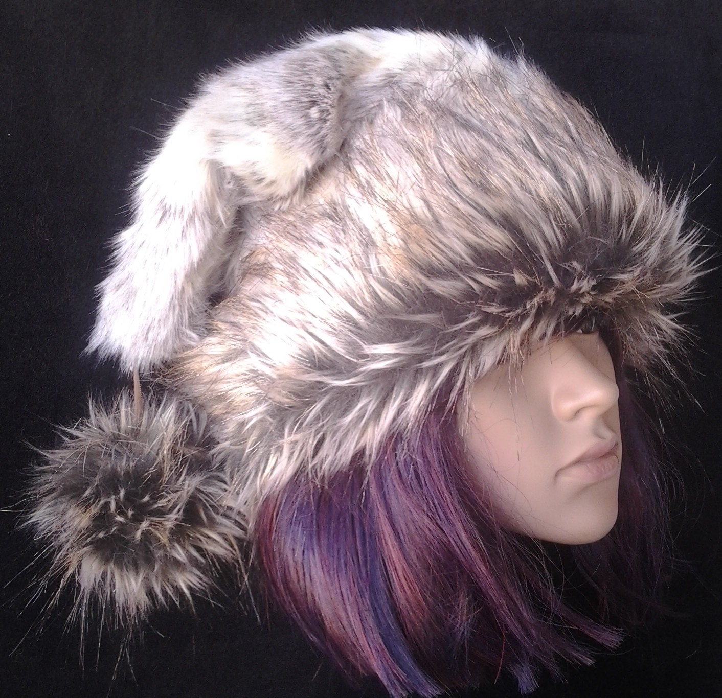 Limited Edition Rabbit fur Santa hat with F aux wolf fur trim