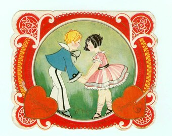 Sweet Vintage Couple Holding Hands Die-Cut Valentine Valentine's Day Card Made In USA 1930s Bobbed Hair
