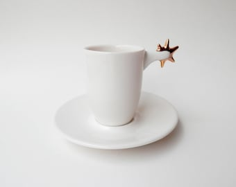 Porcelain Espresso Cup with Saucer, Ceramics and Pottery, Cup with Spur, White Porcelain