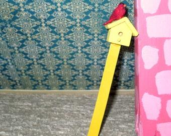 SALE 5.00  Dollhouse miniature vintage upright wooden birdhouse