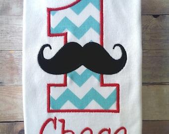 Personalized Mustache Birthday Shirt. 1st Birthday, 2nd Birthday, 3rd Birthday, 4th Birthday, 5th Birthday.