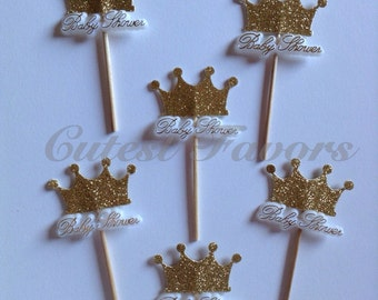 14 Gold crown cupcake topper, food picks // Princess party cake topper