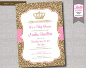Baby Shower Invitation - Princess Crown for Girl and Gold Glitter- DIY Printable - Pink