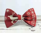Bow Tie by BartekDesign: pre tied red deer christmas ornaments xmass joy december print beige gift for her him fun