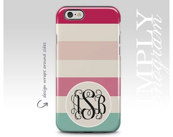 iPhone 8 Case, iPhone 6 Plus, iPhone 7 Case, iPhone 6 Case, Samsung Galaxy S8 Case, Galaxy S7 Case, Pink Mint Stripes, Monogram Case