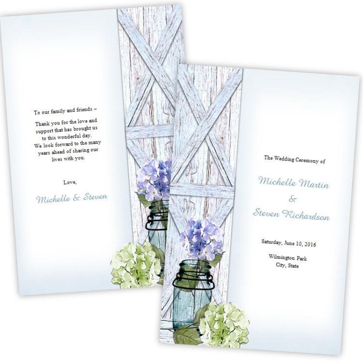 Folded Wedding Program Template Hydrangea In A Mason Jar