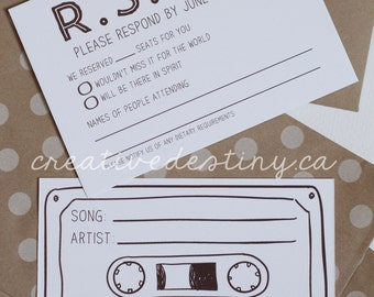 50 - Cassette Tape Song Request RSVP Cards