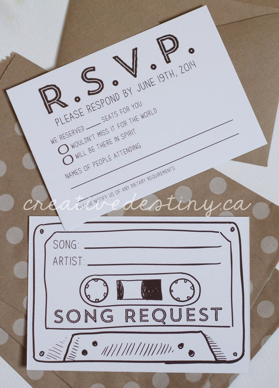 50 Cassette Tape Song Request RSVP Cards