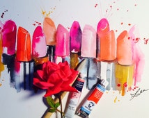 Lipstick Art Painting - Fashion Illustration by Lana Moes - Fragrance of Paris Watercolor - Chanel Love Print on Canvas - Wall Art