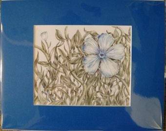 "8x10"" Blue Flower (Prostate Cancer)"