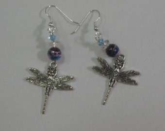 Silvertone Dragonfly Beaded Earrings