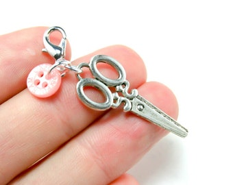 Scissor Charm. Sewing Charm with Button. Silver Tone Scissors Charm for Bracelet Charm. SCC155