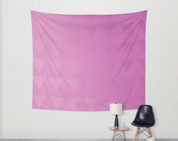 Pink Hanging Tapestry - Wall Tapestry - Tri-Shades Pink Triangles - Large Wall Hanging - Home Decor - Made to Order
