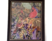 Vintage Art-Large Paint by Number Painting -Cardinals Bird Scene -Trees- Framed -Under Glass -Red Purple  Retro Wall Art - Crested Birds-PBN