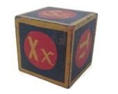 Vintage Wood Letter Block-Alphabet Block-Toy Block-Blue Red Yellow-Repurpose-Rustic Home Decor