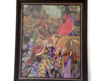 Vintage Art Paint by Number Painting  Large Cardinals Bird Scene Trees Framed Under Glass Red Purple  Retro Wall Art - Crested Birds-PBN