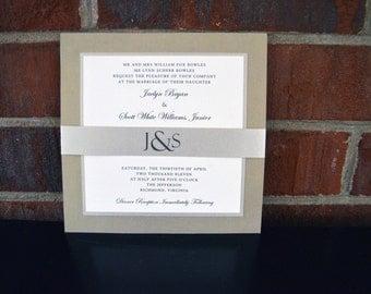 7x7 Metallic and Linen layered Wedding Invitation in Neutrals