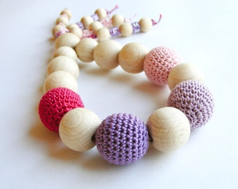 Teething toy, baby rattle, crochet wooden beads, natural teether, wooden teething ring, developmental toy, pink lavender purple fuchsia