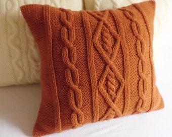 Custom Burned Orange Cable Knit Pillow Case, Throw Pillow, Knitted Pillow Cover, Hand Knit Cushion Cover, Decorative Couch Pillow