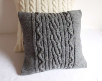 Hand Knit Pillow Case Dark Gray, Throw Pillow, Cable Knit Pillow, Knitted Pillow Cover, 16X16 Knit Cushion Cover