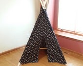 Black Teepee with Orange Dots Modern Dot Play Tent Ready to ship dot tipi