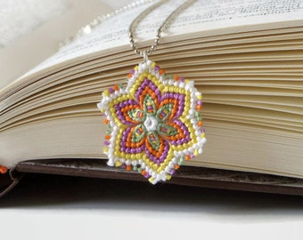 macrame flower necklace with knotted multicolor flower pendant summer fashion jewelry