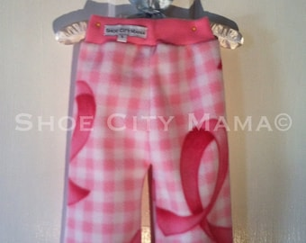 Sale 50% Off, S, Size 3-12 Months, Pink Ribbon Gingham Fleece Longies