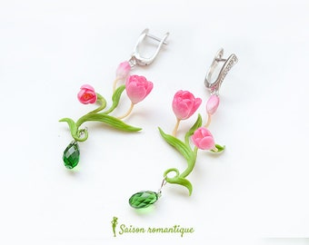 Earrings Tulips Spring Spirit - Polymer Clay Flowers