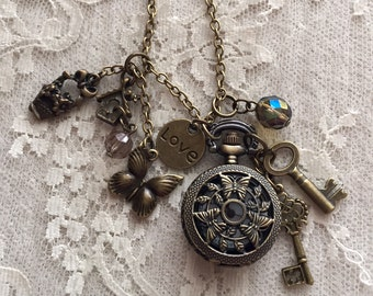 Small Pocket Watch Necklace With Butterflies.  Antique Bronze Tone.