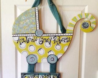 Precious Baby Carriage Door Hanger