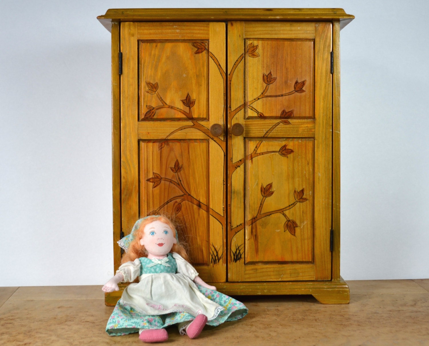 Vintage wood doll armoire wardrobe double doors are hand