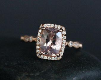 Pink Morganite Engagement Ring 14k Rose Gold Morganite Cushion 9x7mm and Diamond Halo Ring Milgrain Band