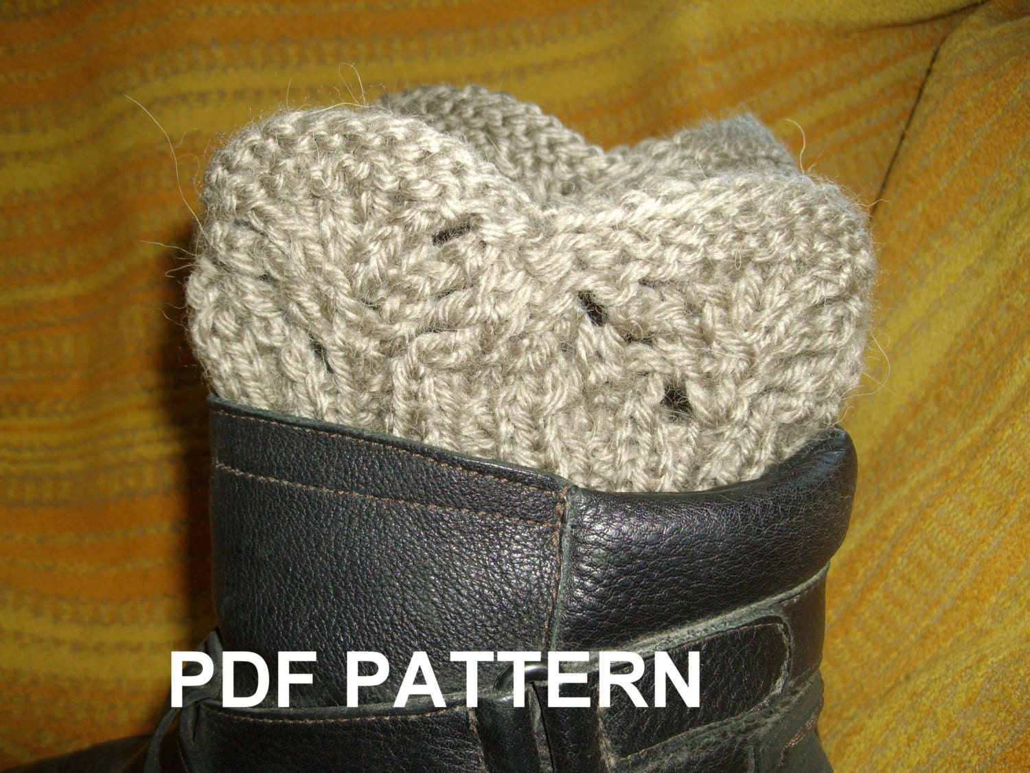 PDF KNITTING PATTERN Boot cuffs legwarmer lace ribbed