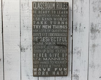 wooden sign, classroom rules, teacher, gift, subway art, classroom sign, hand painted sign, rustic wooden art, wall hanging, wall decor