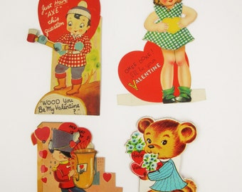Set of Four Animated Valentines From the 30s or 40s - Animated Cards - Moving Hat, Eye and Hatchet - A Bear With a Flower Bouquet