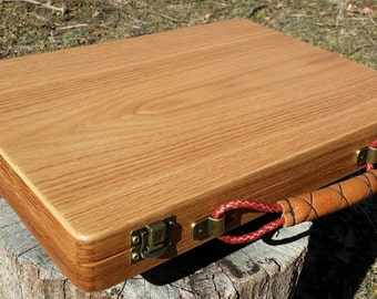 Oak Lap Desk Box with Hand crafted Leather handle.