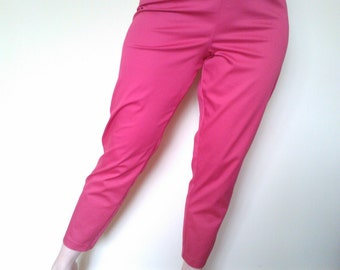Magenta Pink 1950s style cigarette pants, true vintage fit.
