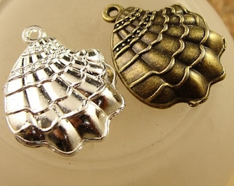 21*18MM Bulk 12pcs Antiqued bronze &Silver Shell Charm Pendant,Alloy Seashell Charms Pendants Jewelry Making Findings