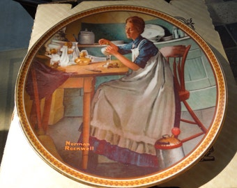 Norman Rockwell Plate, Working in the Kitchen.  With Box and Paperwork.
