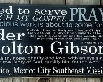 Mission, LDS Missionary Personalized Sign, Missionary Mom Gift, Wood Sign