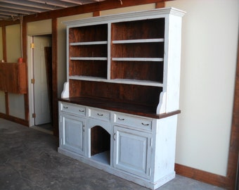Hutch made from reclaimed wood custom made in the USA shabby chic style