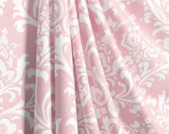 pink curtains, damask