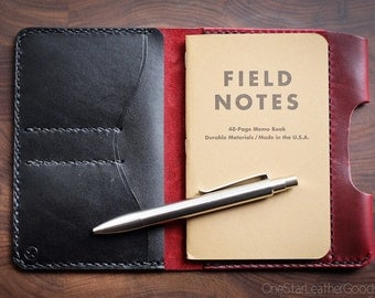 "Field Notes wallet with pen sleeve ""Park Sloper Senior"" Horween Chromexcel leather - red / black"