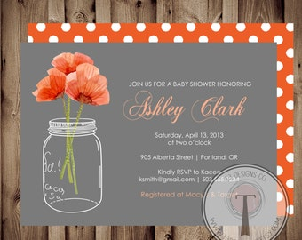 BABY GIRL Baby Shower Invitation,poppies baby shower, baby shower invite, mason jar baby shower,flowers, poppy flower, poppy, poppies